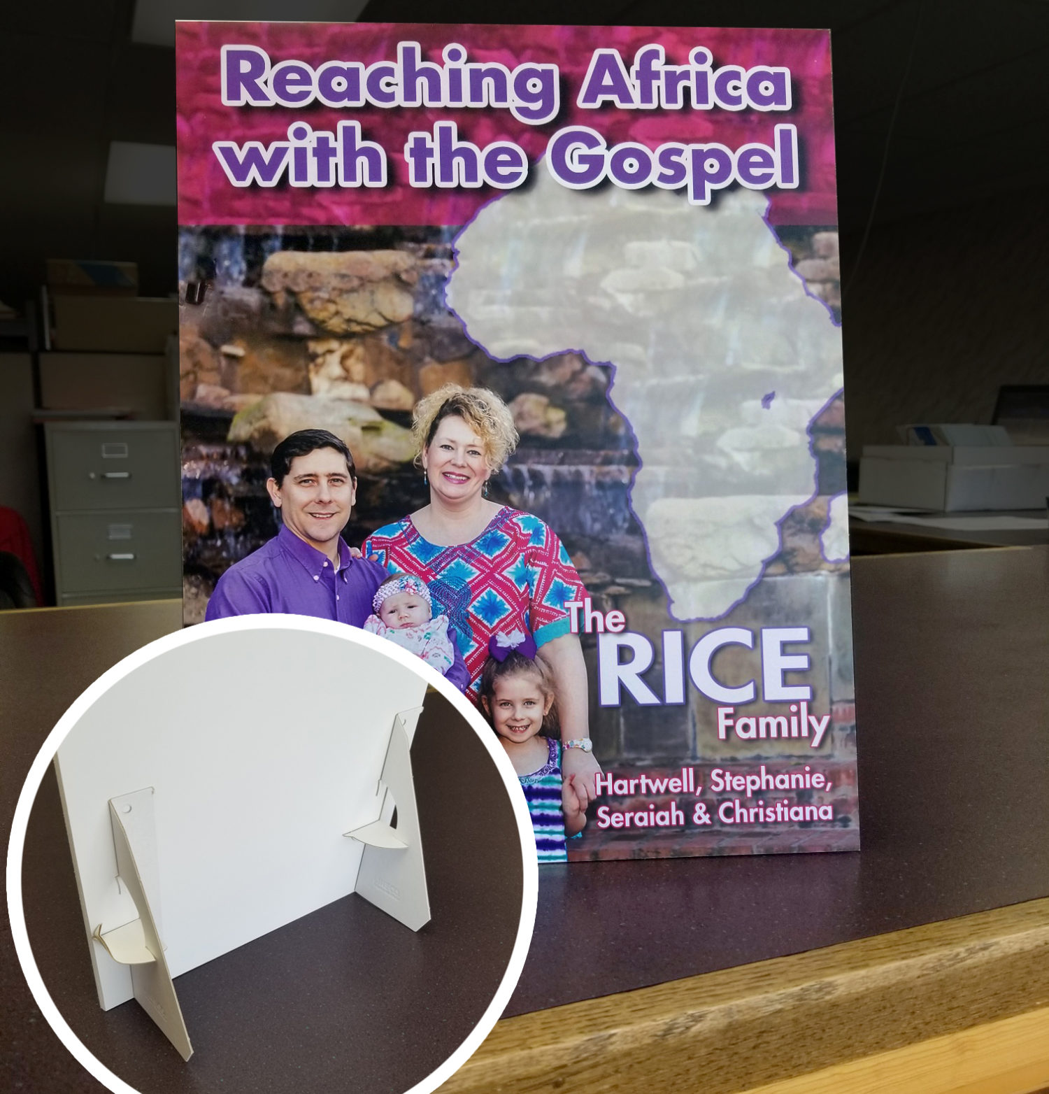 Tabletop display signs for Missionary support and fundraising - MissionaryCards.com